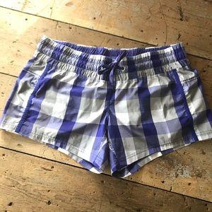 Purple and gray plaid lululemon shorts